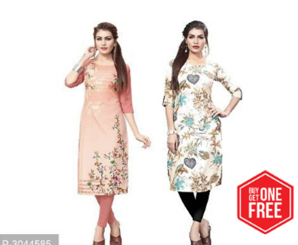 Stylish Multicolored Printed Full-Stitched American Crepe Straight Kurti (Pack of 2)