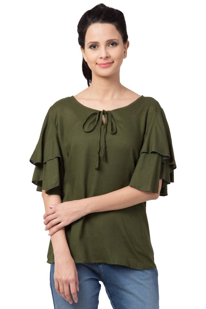 Olive Front Knot Top For Women's - Zoopershop.com