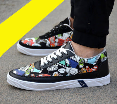 Men's Stylish Multicoloured Printed Casual Sneakers