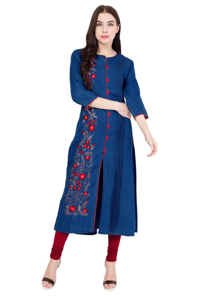 Stylish Blue Embroidered Denim Straight Women's Kurti