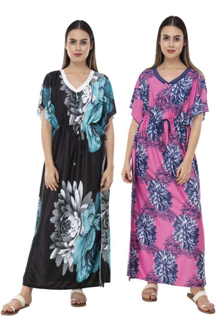 Printed Kaftaan Night Gown Combo 2 - Plus Size