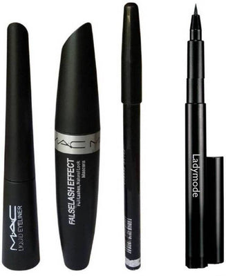 Mac Kajal Pencil, Liquid Eyeliner, Mac Mascara & Mac Eyebrow Pencil (Set Of 4)