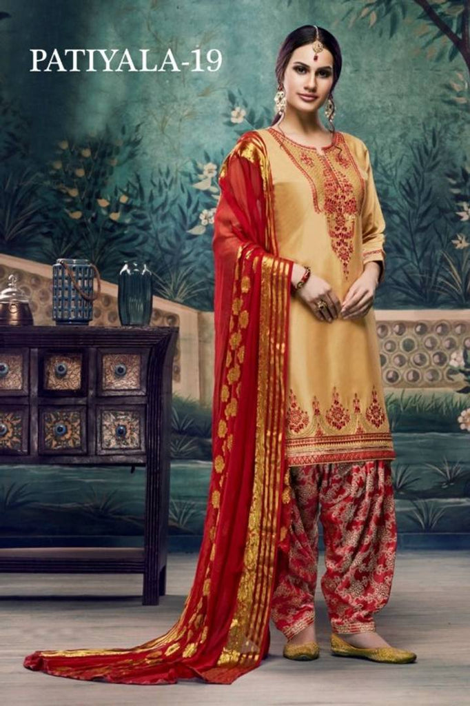 Elegant Satin Cotton Embroidered Women Dress Material with Dupatta