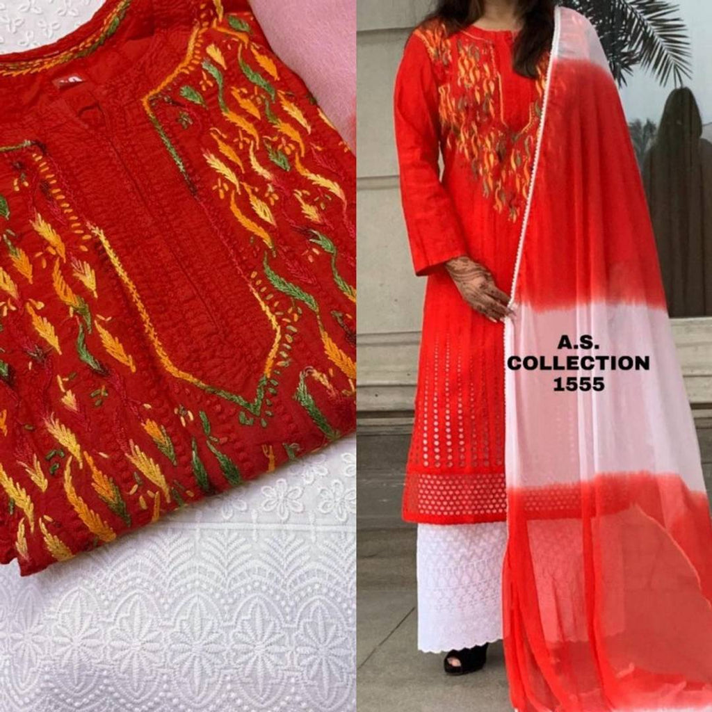 Elegant Red Chikankari Heavy Cotton Women Kurta Palazzo Set with Dupatta
