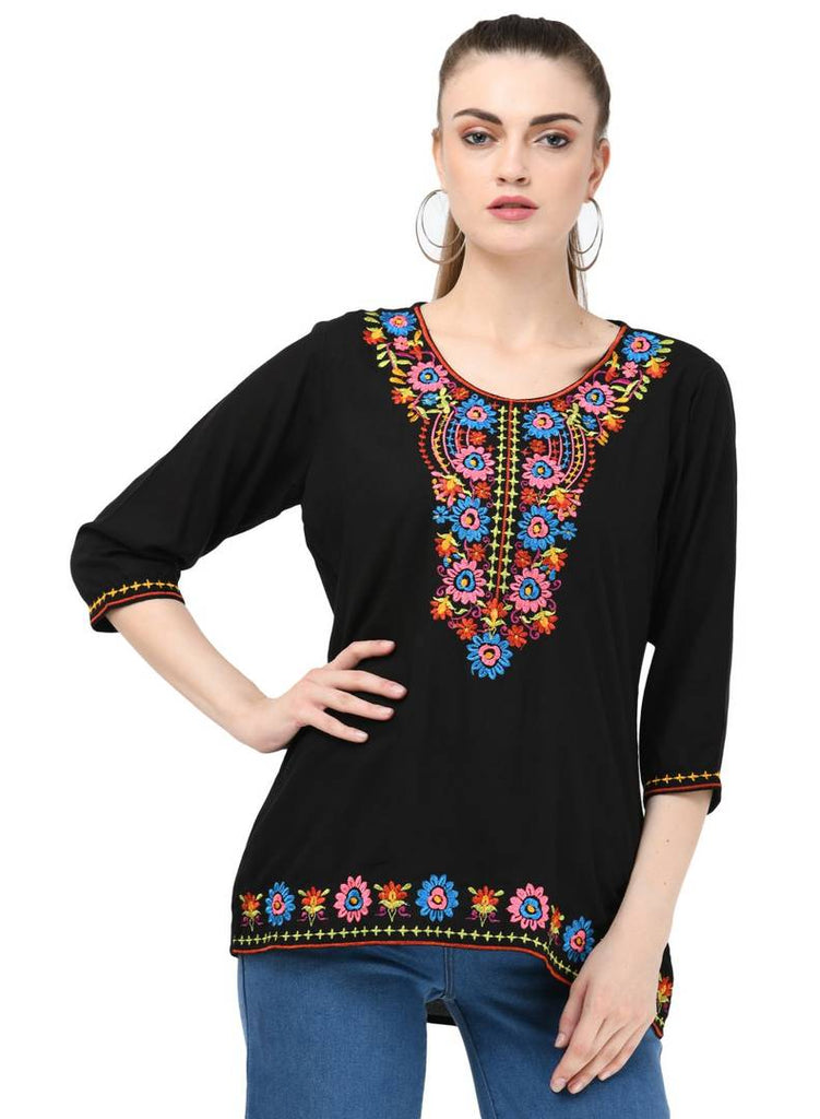 Women's Rayon Black Embroidered Top - Zoopershop.com