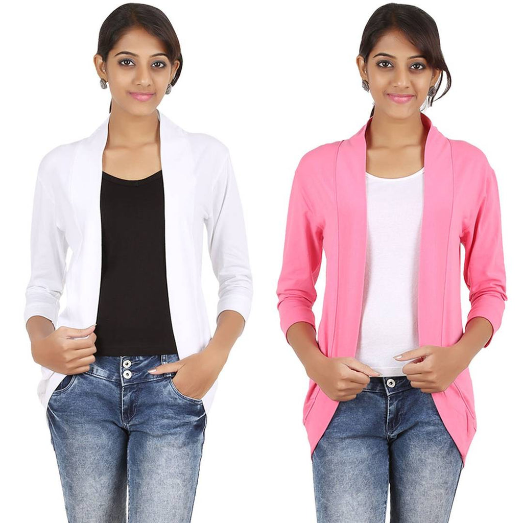 Womens Spantex White Pink Shrug Pack of 2