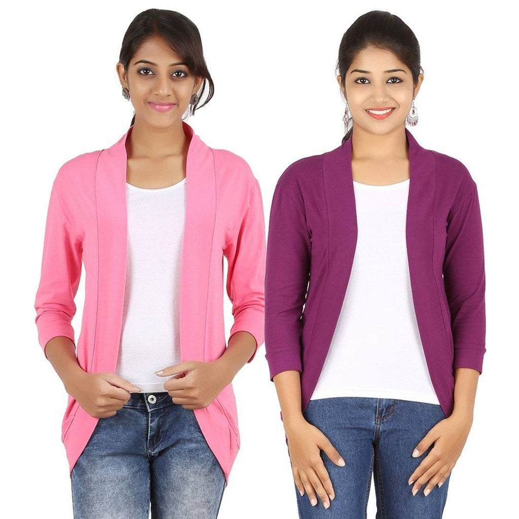 Women's Spandex Light Pink and Purple Shrug Pack of 2