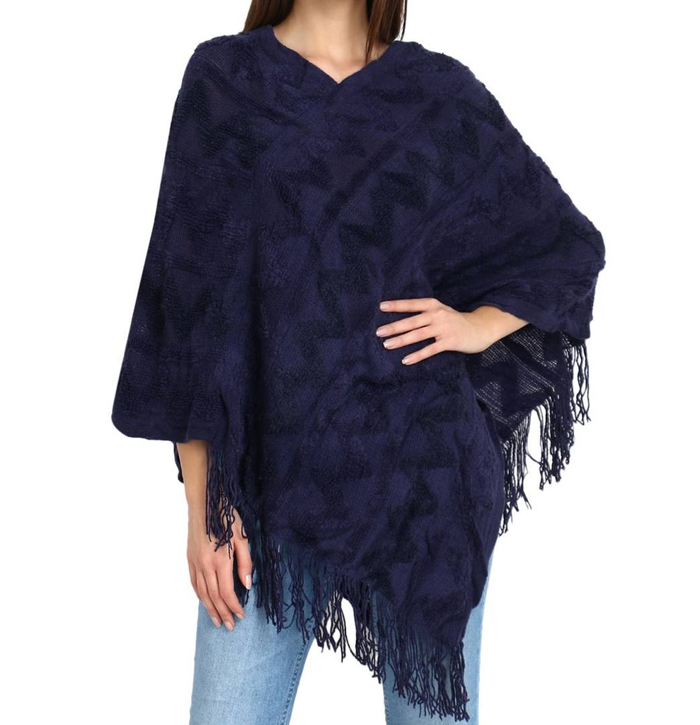 Stylish Women's Navy Blue Regular Length Solid Wool Shrugs