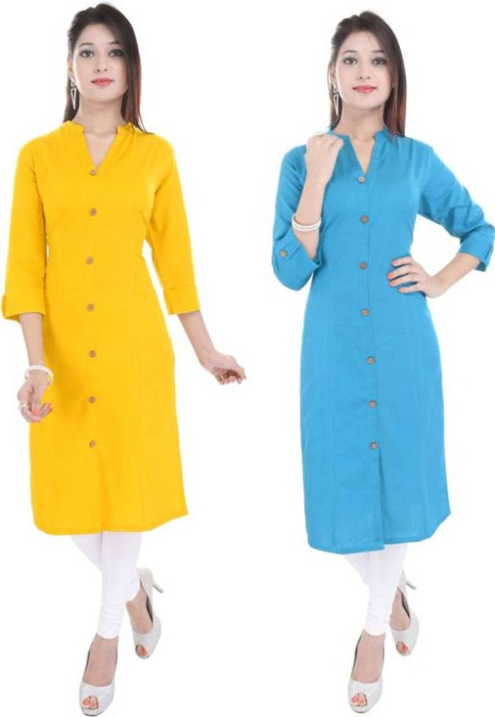 Alluring Cotton Kurtas For Women's (Pack Of 2)