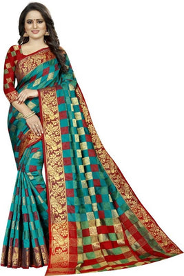 Beautiful Multicoloured Cotton Silk Saree With Blouse Piece