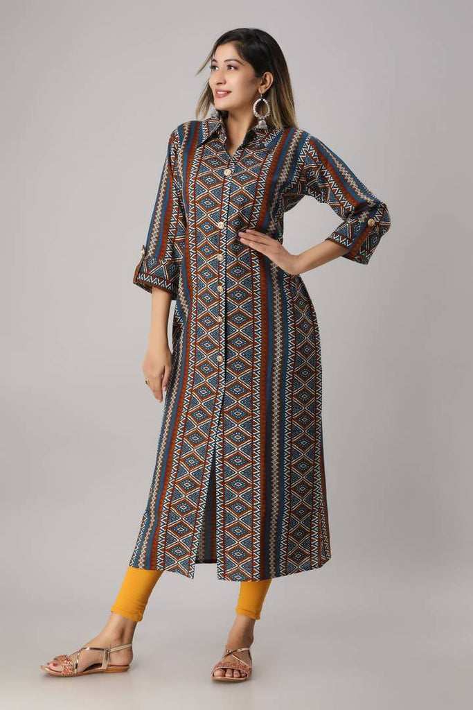 Women's Stitched Multicoloured Rayon Printed Straight Kurta
