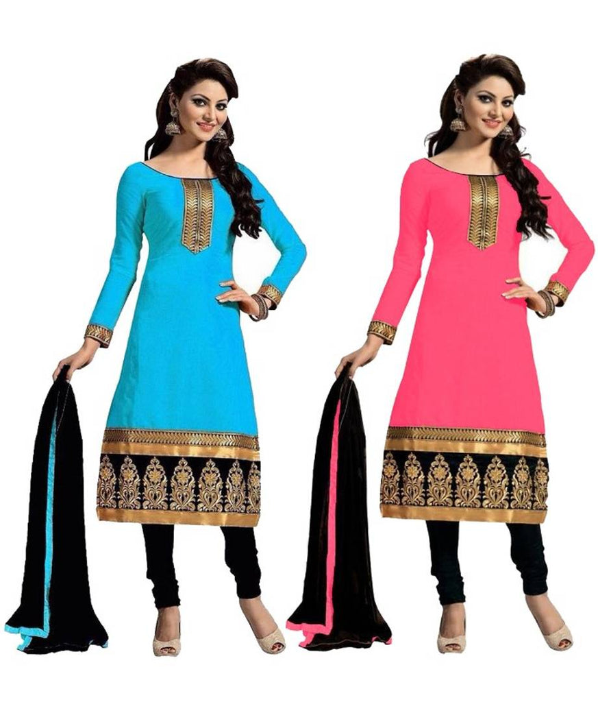 Stylish Cotton Embroidered Un-stitched Dress Material With Dupatta ( Pack Of 2 )