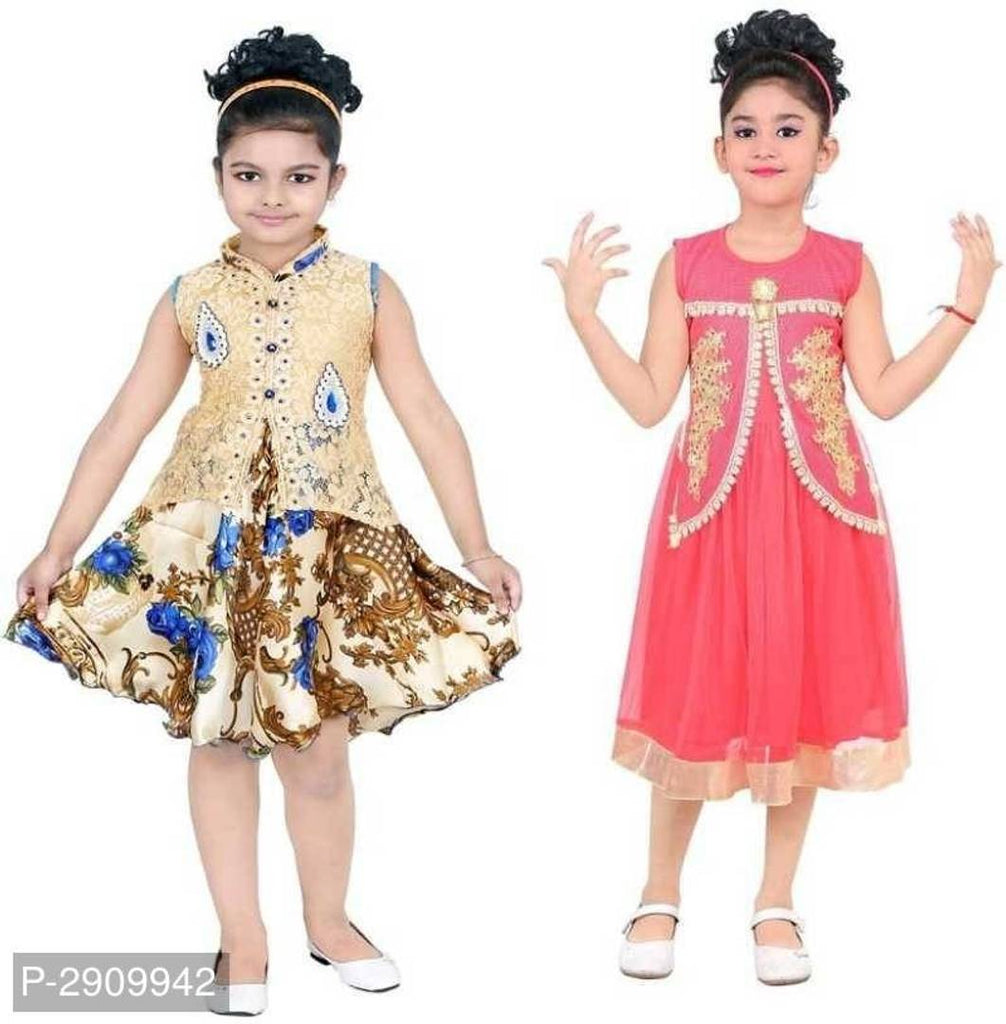 Girls Midi/Knee Length Festive/Wedding Dress(PACK OF 2) - Zoopershop.com