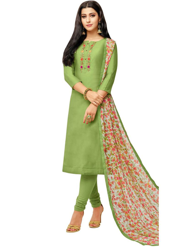 Fashionable Green Printed Chanderi Silk Dress Material with Dupatta