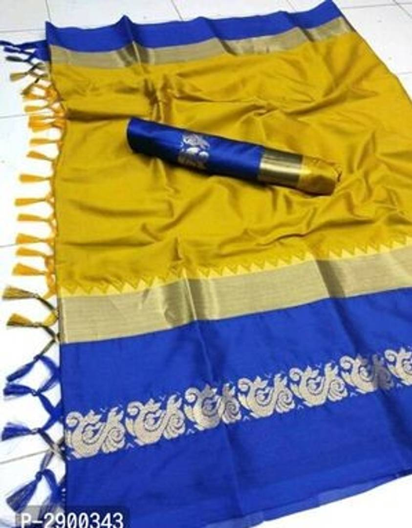 Yellow Art Banarasi Silk Jacquard Saree with Blouse piece