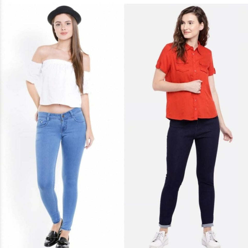 Women Multicolored Silky Denim Jeans Combo (Pack Of 2) - Zoopershop.com