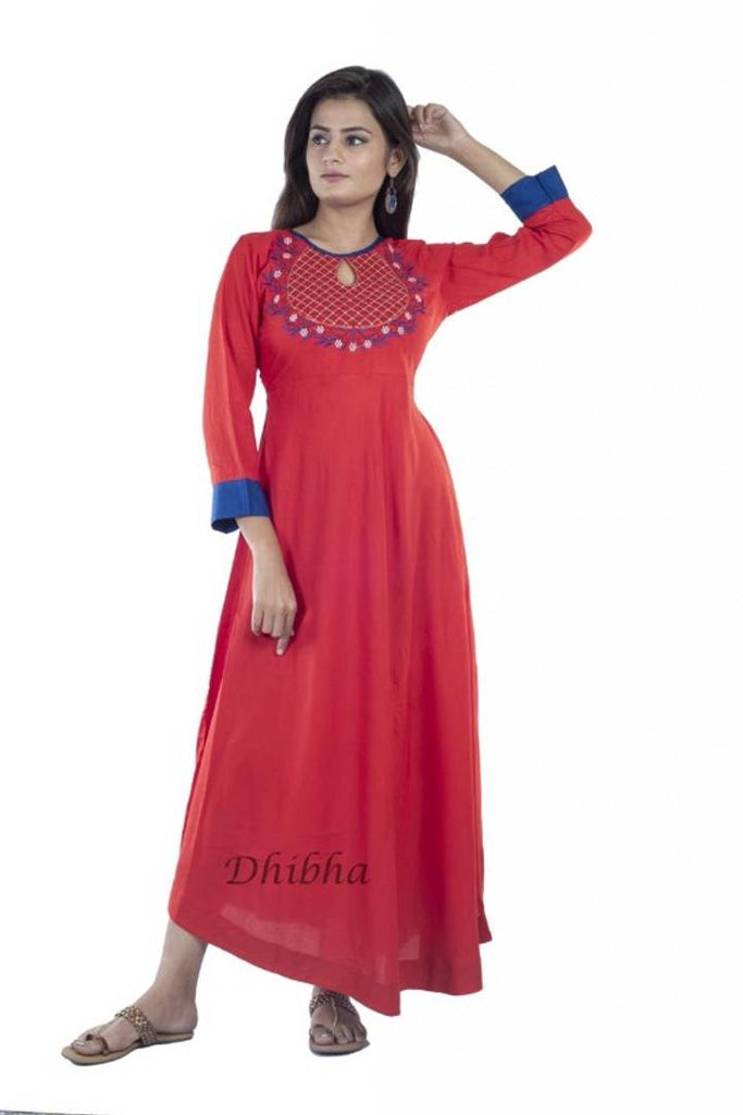 Elegant Rayon 140 Gsm Embroidered  Anarkali Kurti