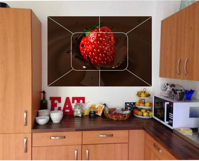 Waterproof Kitchen Strawberry with chocolate wall sticker Wallpaper/Wall Sticker Multicolour - Kitchen Wall Coverings Area (61Cm X92Cm)
