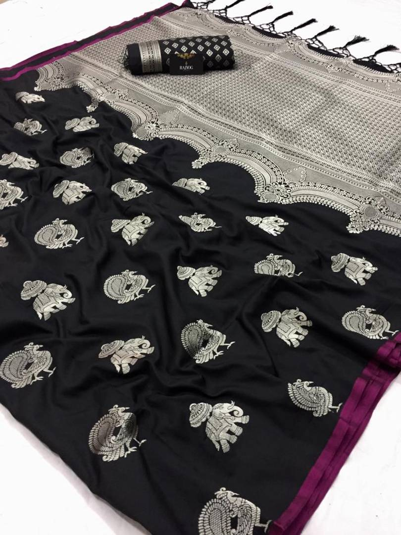 Black Woven Design Art Banarasi  Silk Saree with Blouse