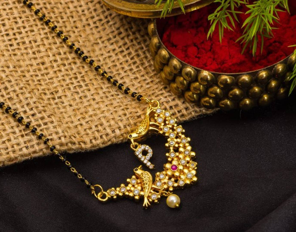 Trendy Designer Gold Plated Alloy Mangalsutra in Alphabets with American Diamond
