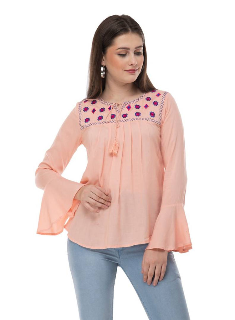 Fashionable Pink Cotton Embroidered Top - Zoopershop.com