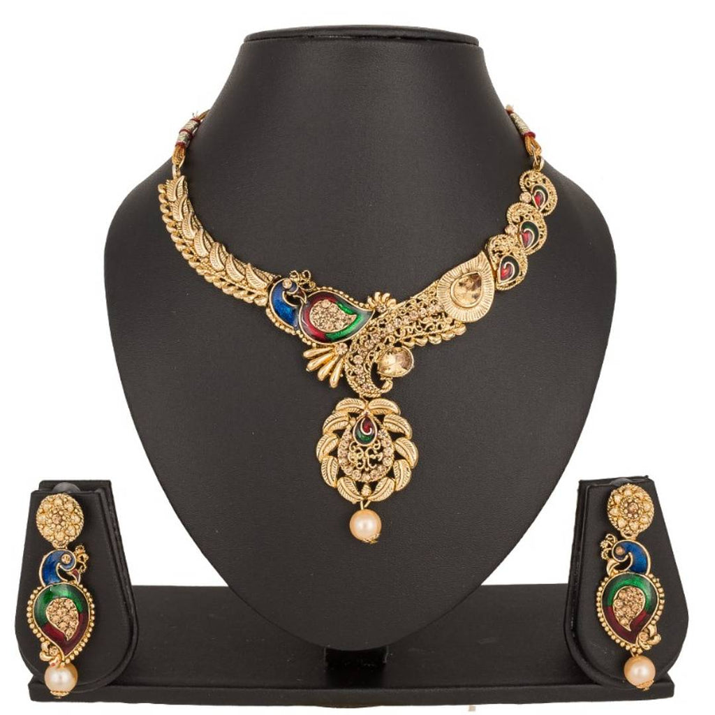 Peacock Antique Necklace Set SNK-166