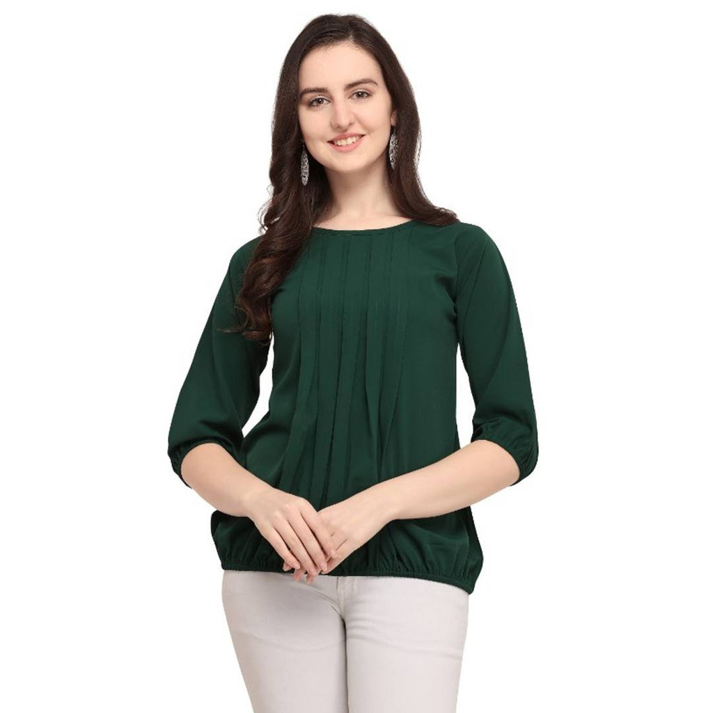 Party Wear 3/4th Sleeve Solid Women Green Top - Zoopershop.com
