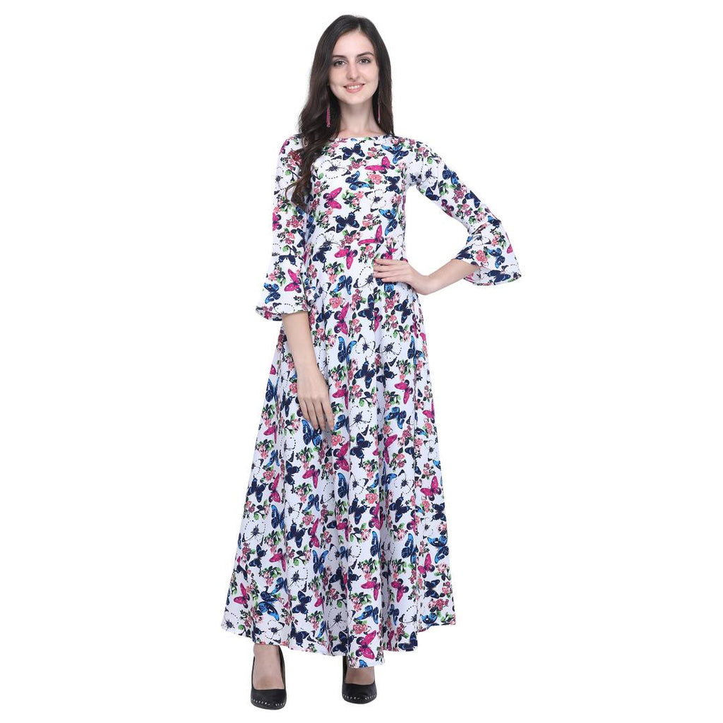 Women Bell Sleeve Floral Printed Long Maxi Dress - Zoopershop.com