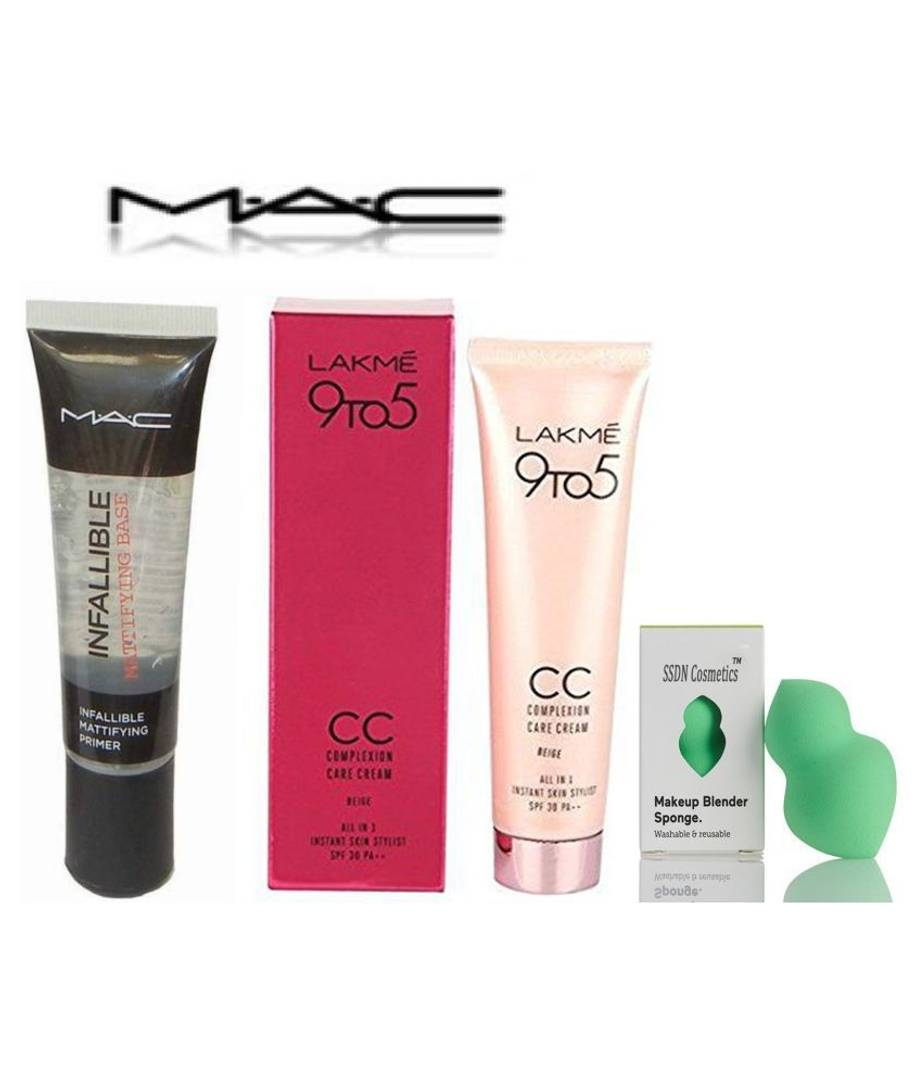 Ultimate Combo Of Mac Primer Lakme CC Cream & Makeup Blender