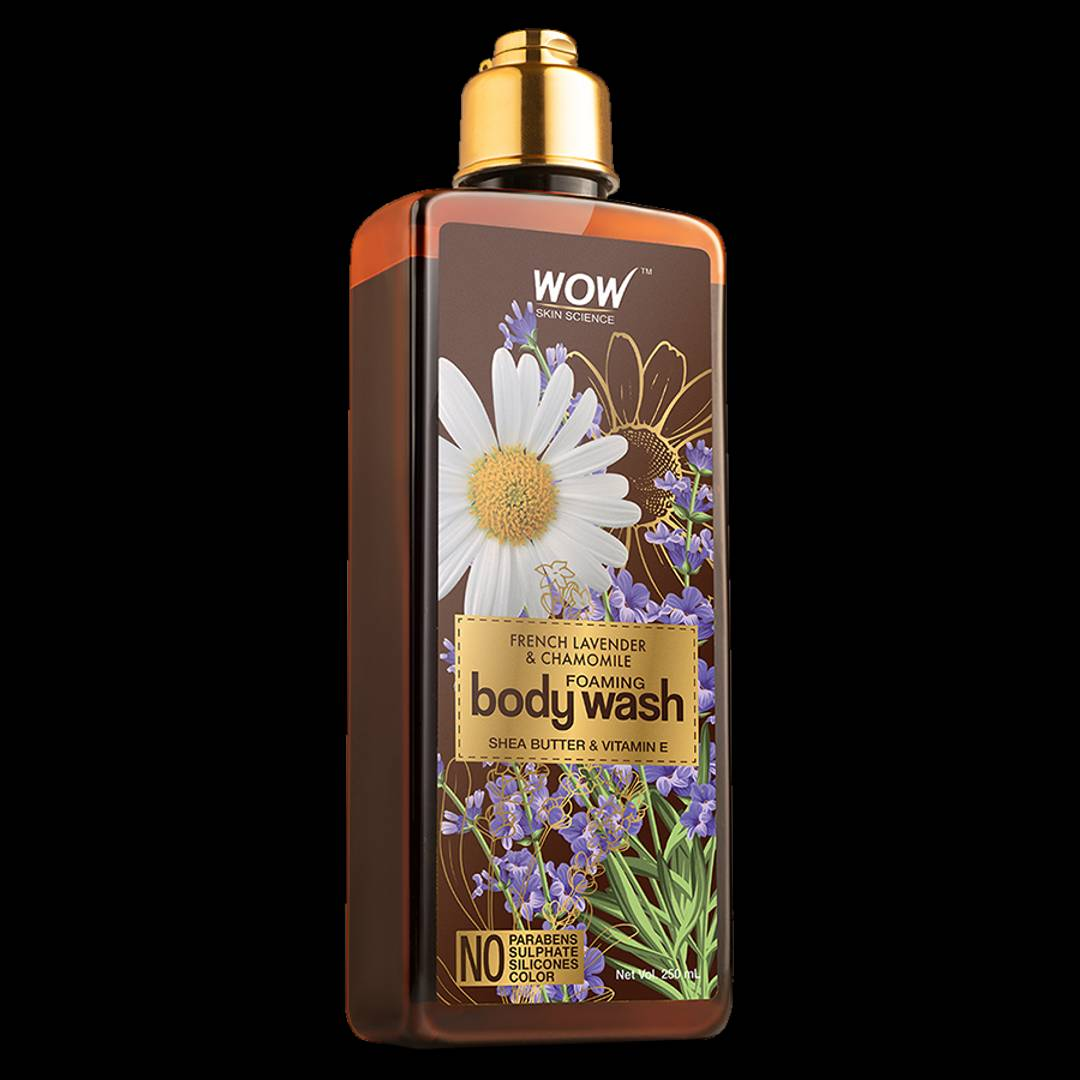 French Lavender & Chamomile Foaming Body Wash - No Parabens, Sulphate, Silicones & Color - 250 Ml