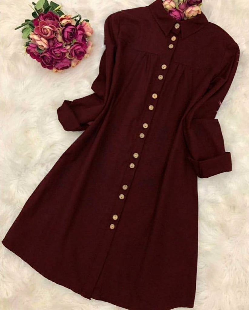 Women's Maroon Rayon Solid Tunic Top - Zoopershop.com