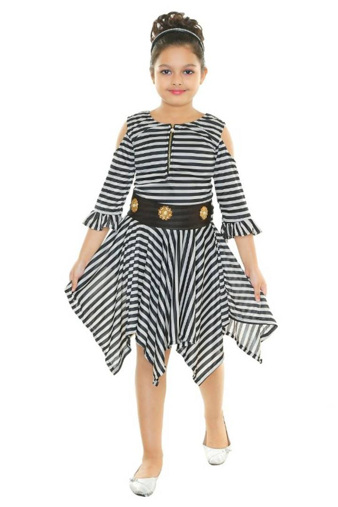RNR FASHION Girls Black and White Colored Imported Striped Printed Lycra Blended Midi/Knee Length 3/4 Sleeve Frock(RNR071)