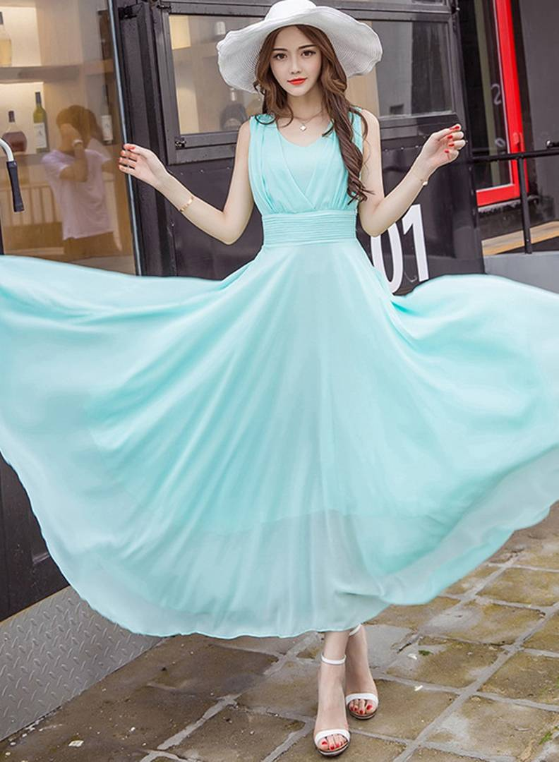 Sky Blue V-Neck Long Maxi Dress