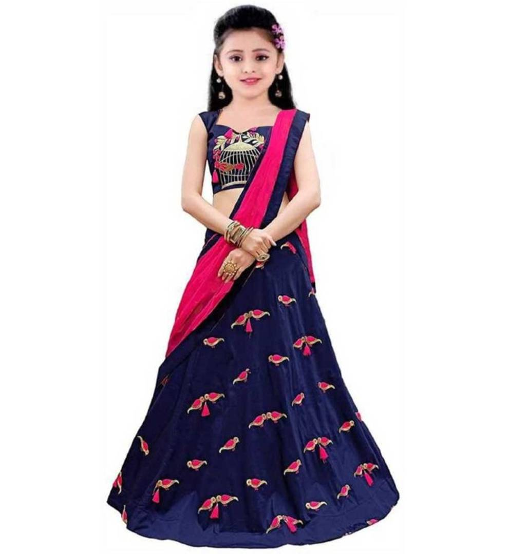 9 To 12 Year New Disigner Kids semi Stiched Lengha choli
