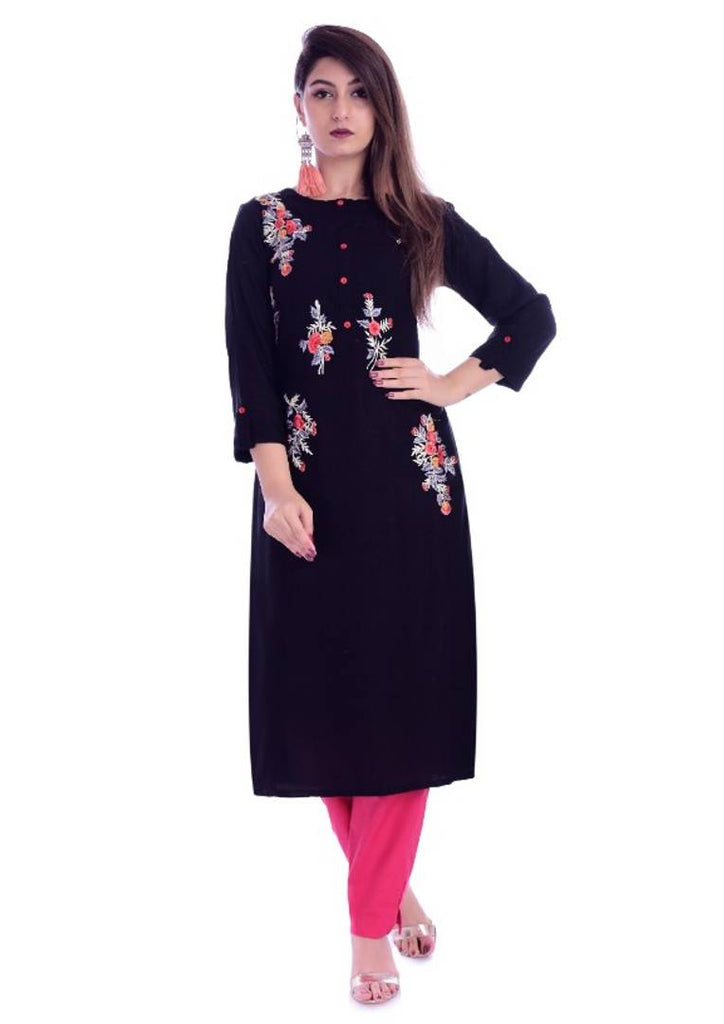 Stylish Black Embroidered Straight Kurti For Women