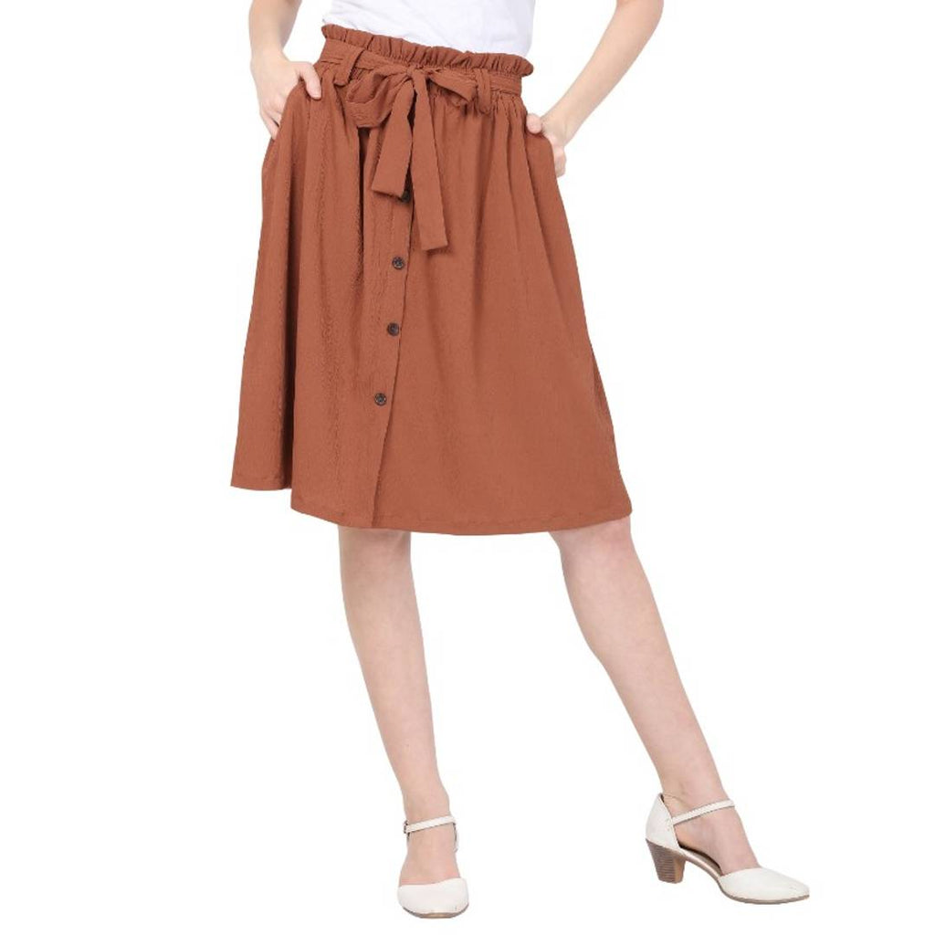 Women's Brown A-Line Tie-Up Skirt With Button