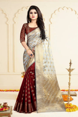 Beautiful Art Banarasi Silk Jacquard Saree with Blouse piece