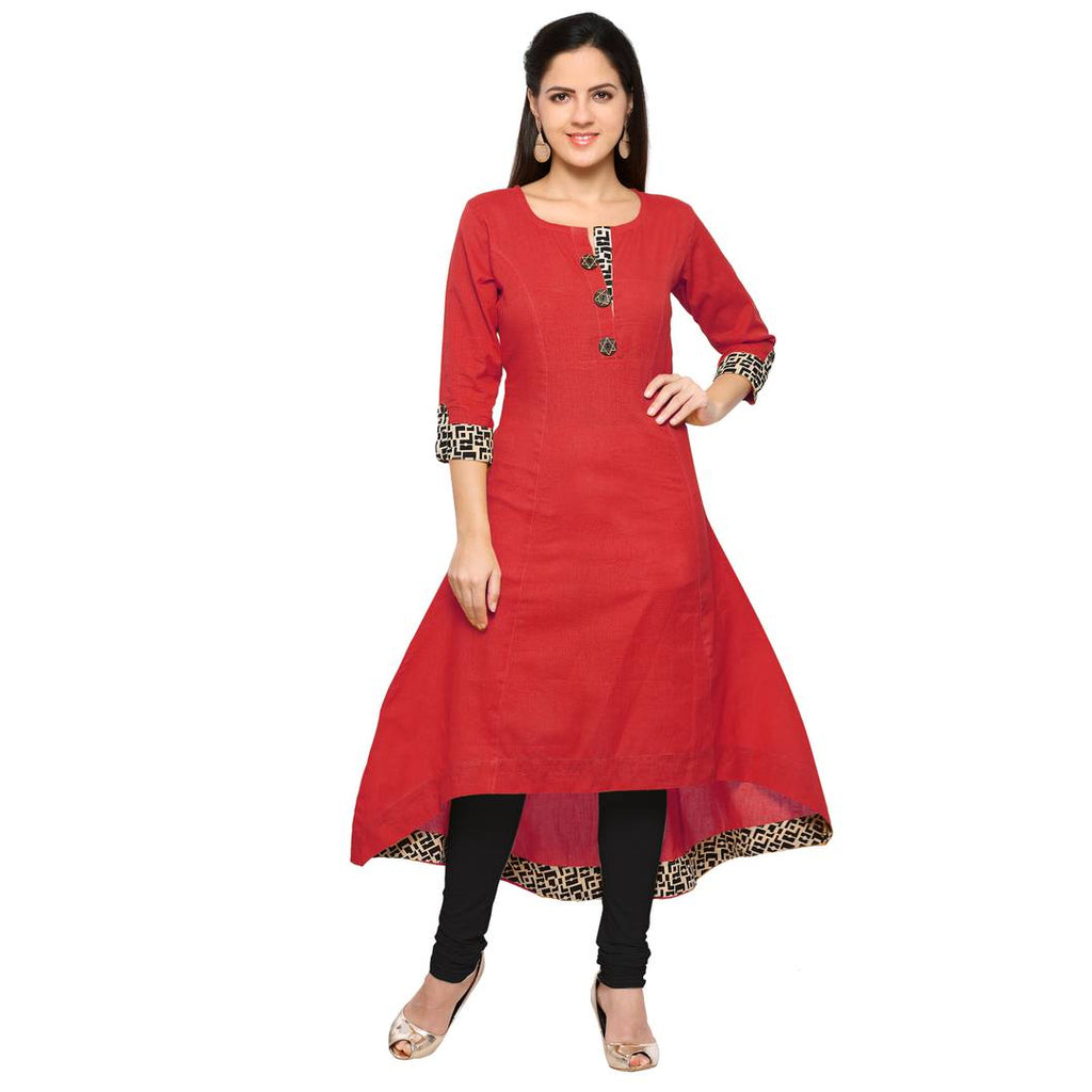 Red Cotton Plain Kurta