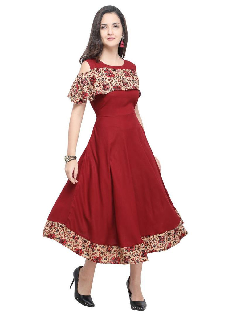 Stylish Maroon Printed Rayon Kurta For Women