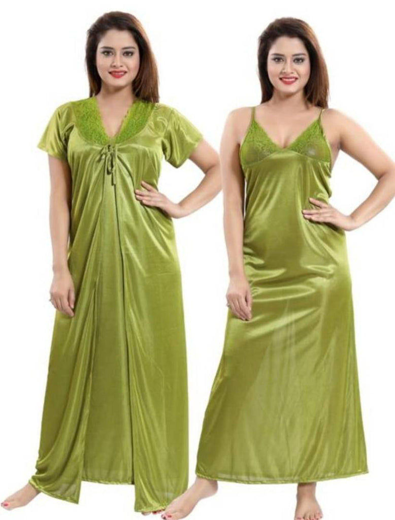 Trendy 2-IN-1 Satin Bridal Night Gown With Robes
