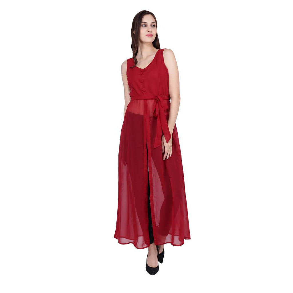 Maroon Solid Georgette A-Line Maxi Dress - Zoopershop.com