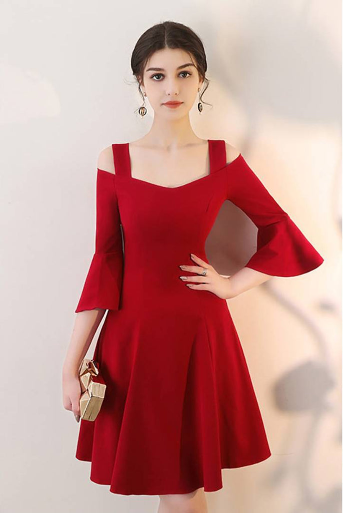 Women Red Bell Sleeve Cold Sholder Hosery Short Dress - Zoopershop.com