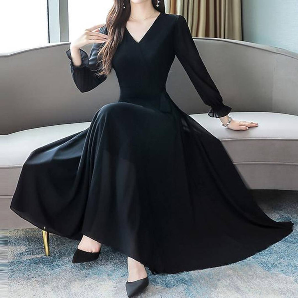 Women Black V-Neck Long Sleeve Georgette Maxi Dress - Zoopershop.com
