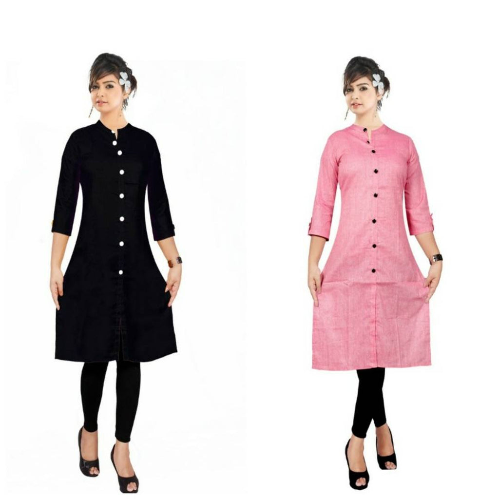 Ravishing Multicoloured Rayon Women Straight Kurti(Pack Of 2)