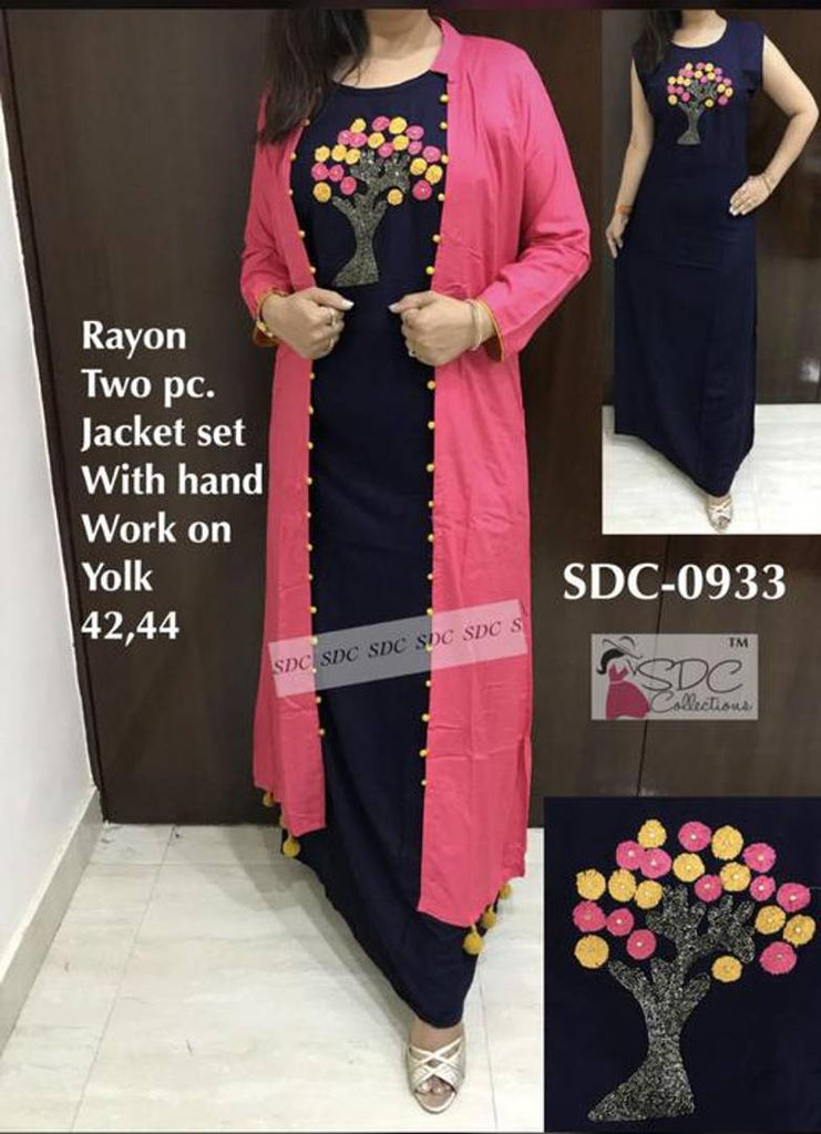 Elegant Rayon Machine Embroidered Kurti With Jacket
