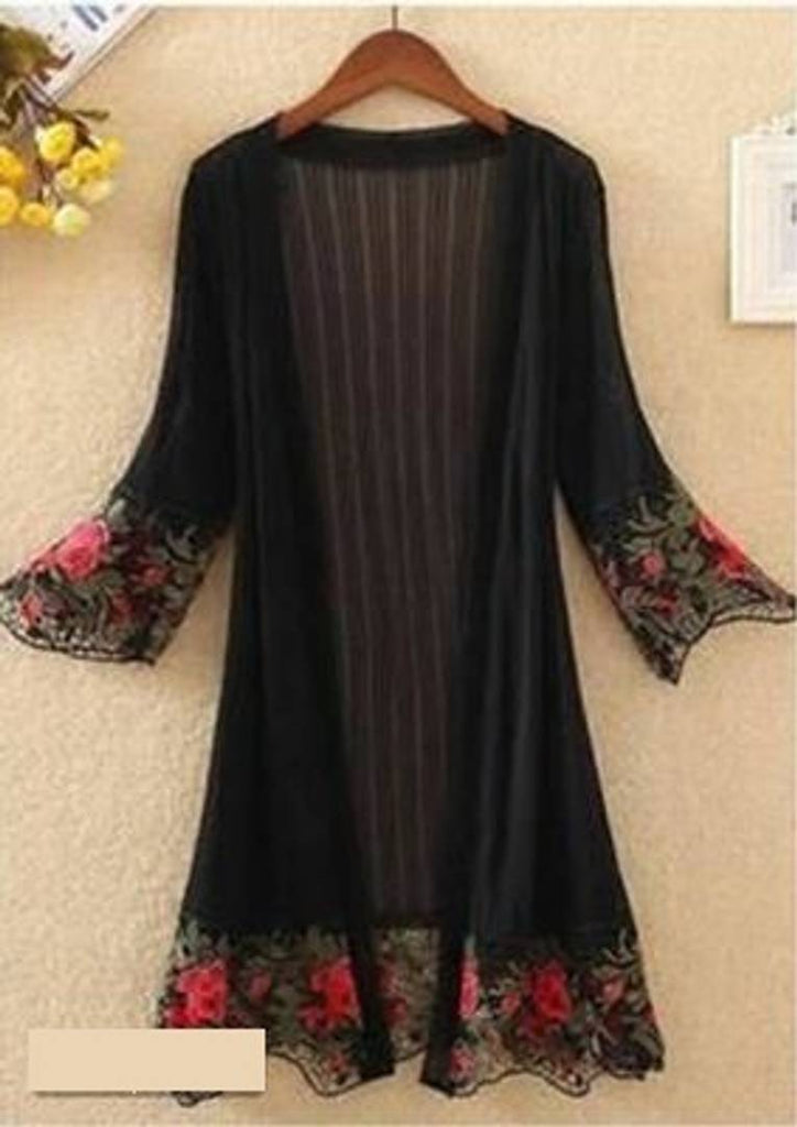 Imported trendy embroidered shrug