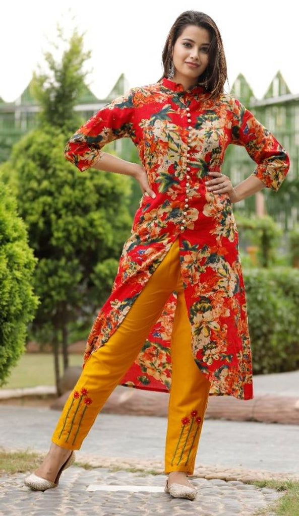 Cotton A line kurti with Rayon Handworked Pants