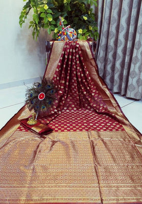 Beautiful Maroon Color Cotton Silk Jacquard Saree with Blouse piece