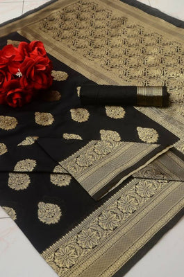 Beautiful Black Color Silk Blend Jacquard Saree with Blouse piece