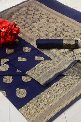 Beautiful Silk Blend Navy Blue Color Jacquard Saree with Blouse piece
